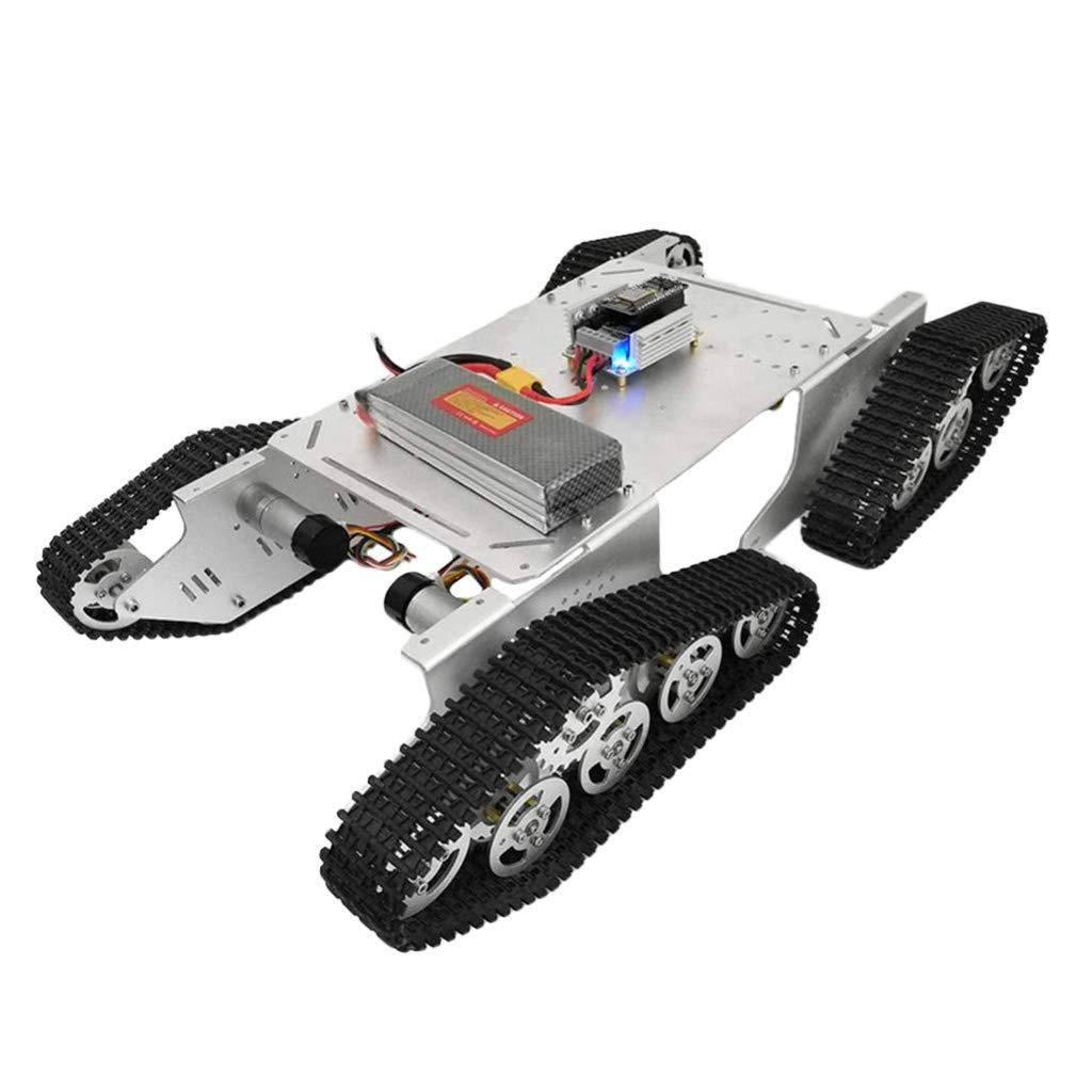 Perfk T900 Roboter Panzerwagen Plattform Chassis Stoßdämpfung Smart Auto Chassis für Arduino - Silber