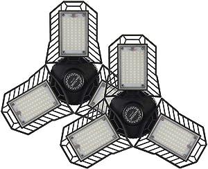 """NATHOME garage lighting,45W 216 LEDs Garage Light/Aluminum Cooling system/daylight 5000K AC110V/deformable three leaf garage light,indoor use for Shop Lights,Garage work (45W No-sensor""""2 PACK"""")"""