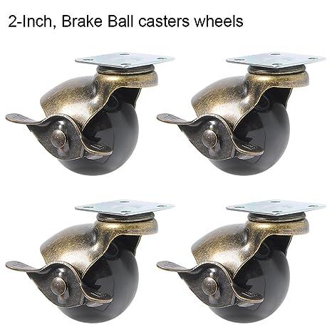 ele, ELEOPTION - Juego de 4 ruedas giratorias con capucha para frenos, giratorias de
