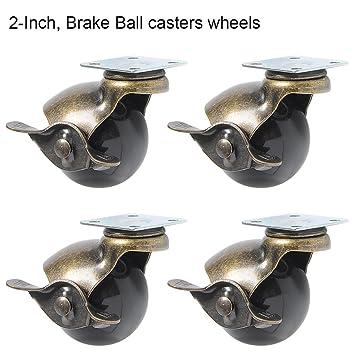 ParaCity - Juego de 4 ruedas giratorias de 360 grados con capucha y freno redondo para