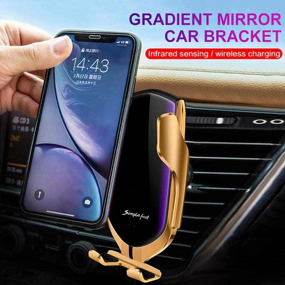 Infrared Motion Sensor Auto Open and Clamp for Safe Driving 7.5W // 10W Fast charging Gold DSDealz Wireless Charger Automatic Clamping Qi Car Holder for iPhone Samsung
