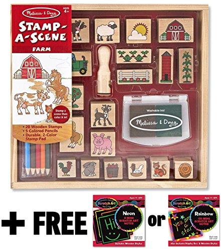 Mini Scene Kit - Farm: Stamp-a-Scene Wooden Stamp Set + FREE Melissa & Doug Scratch Art Mini-Pad Bundle [85922]