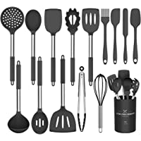 Umite Chef Kitchen Utensils Set, 15 pcs Silicone Cooking Kitchen Utensils Set, Heat Resistant Non-stick BPA-Free Silicone Stainless Steel Handle Turner Spatula Spoon Tongs Whisk Cookware Black