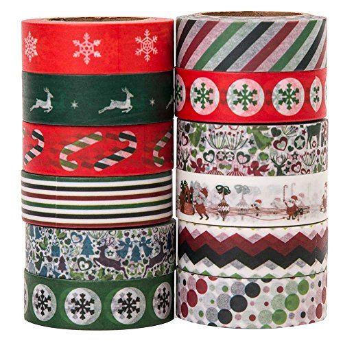 Savena Washi Tape Set for DIY Gift Wrapping Scrapbooking and Craft, Sticky Adhesive Paper Masking Tape with Lovely Printed Patterns and Long-Lasting Colors (12 Rolls, Xmas, 0.6in x 32.8ft)