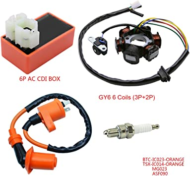 Racing Ignition Coil Magneto Stator 6 Pins Wires AC CDI Box For Chinese GY6 125cc 150cc Engine ATV Quad Moped Scooter