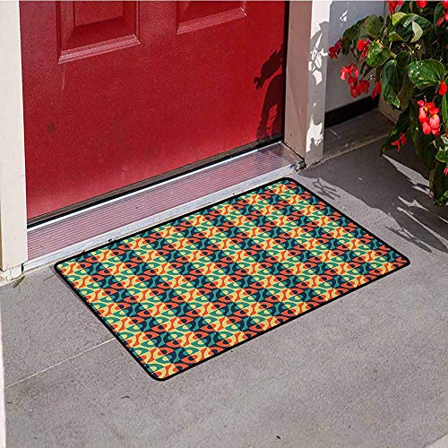 - Gloria Johnson Geometric Front Door mat Carpet Checkered Grid Style Squares Pattern with Oval Shapes Vintage Design Inspirations Machine Washable Door mat W23.6 x L35.4 Inch Multicolor