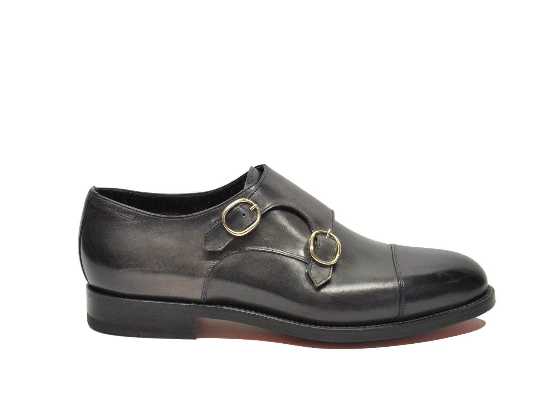 Price Compare Santoni Mens MCCO13973MC1HTRGN42 Black Leather Monk Strap Shoes