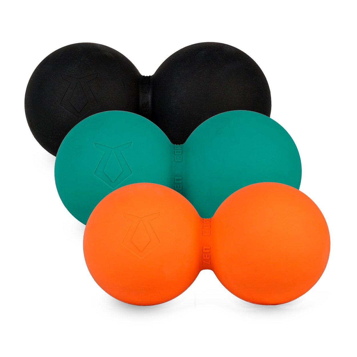 Zen Core Massage Duoball Original - Twinball Faszienrolle im 3er-Pack in Schwarz, Türkis, Orange aus Lacrosseball Hartgummi, Größe einzeln 13 x 6 cm für Triggerpunkt- & Faszienmassage Türkis