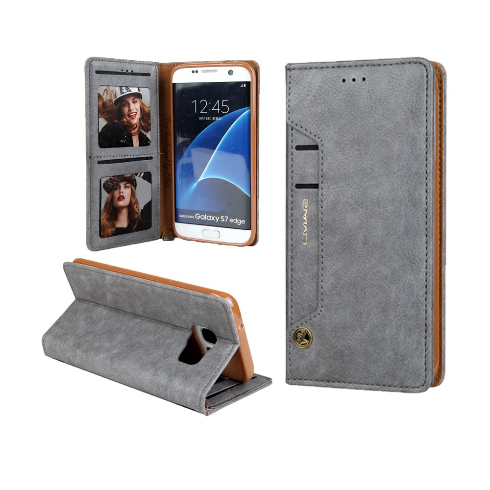 KingTo PU Leather Case for Galaxy S9 Plus,Folio Flip Cell Phone Protective Cover with Card Holder for Men and Women - Grey