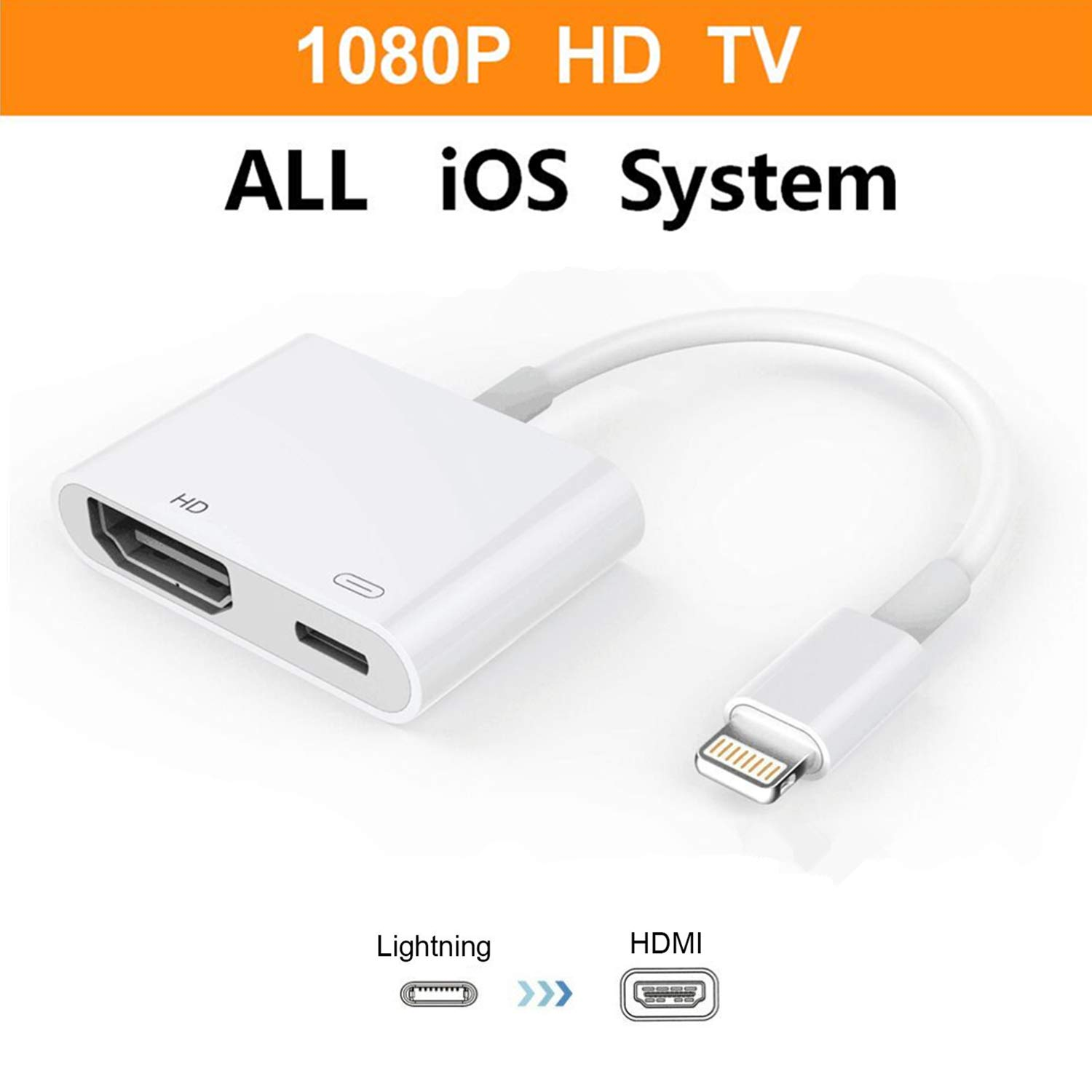 Lightning to HDMI Adapter,ebasy Lightning Digital AV Adapter with Lightning Charging Port for HD TV Monitor Projector 1080P for iPhone, iPad and iPod(Support iOS 10, iOS 11)-White