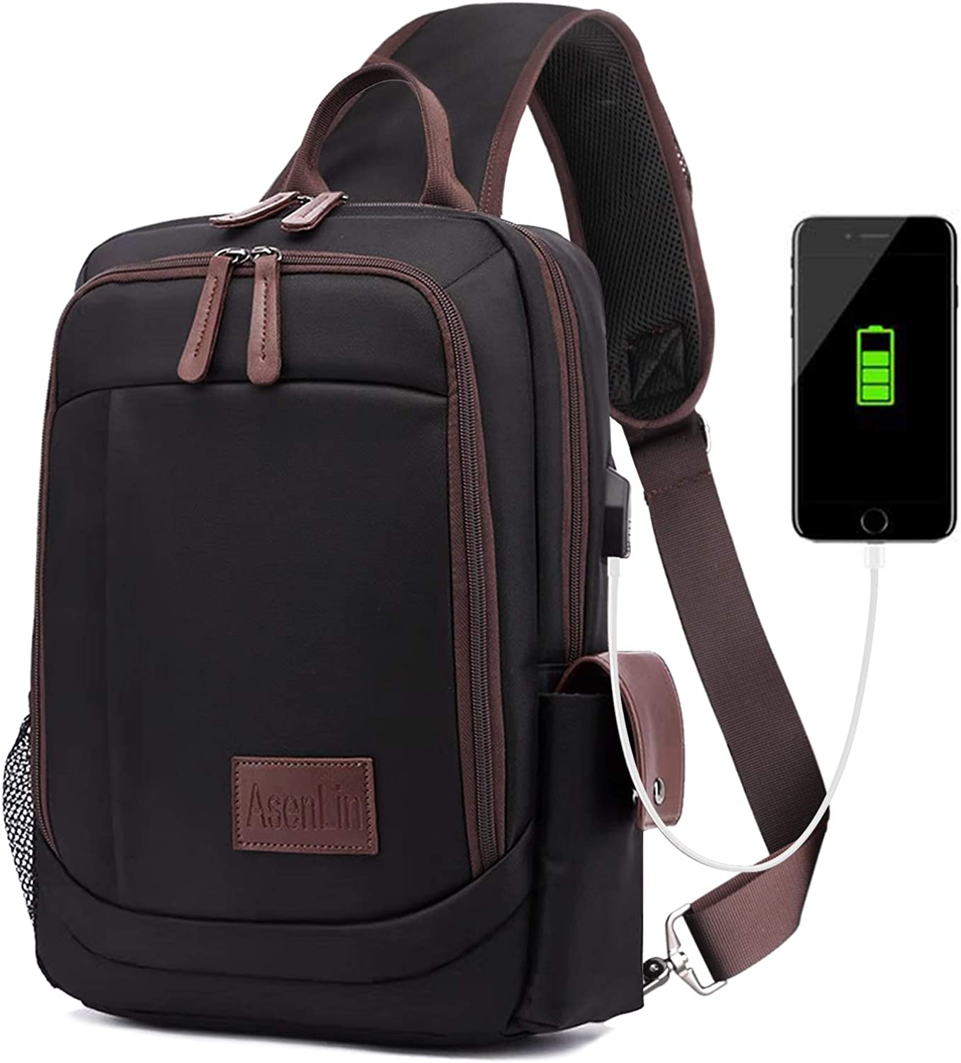 Sling Bag Shoulder Bag 12 Inch Laptop Bag with USB Charging Port Men Women Black