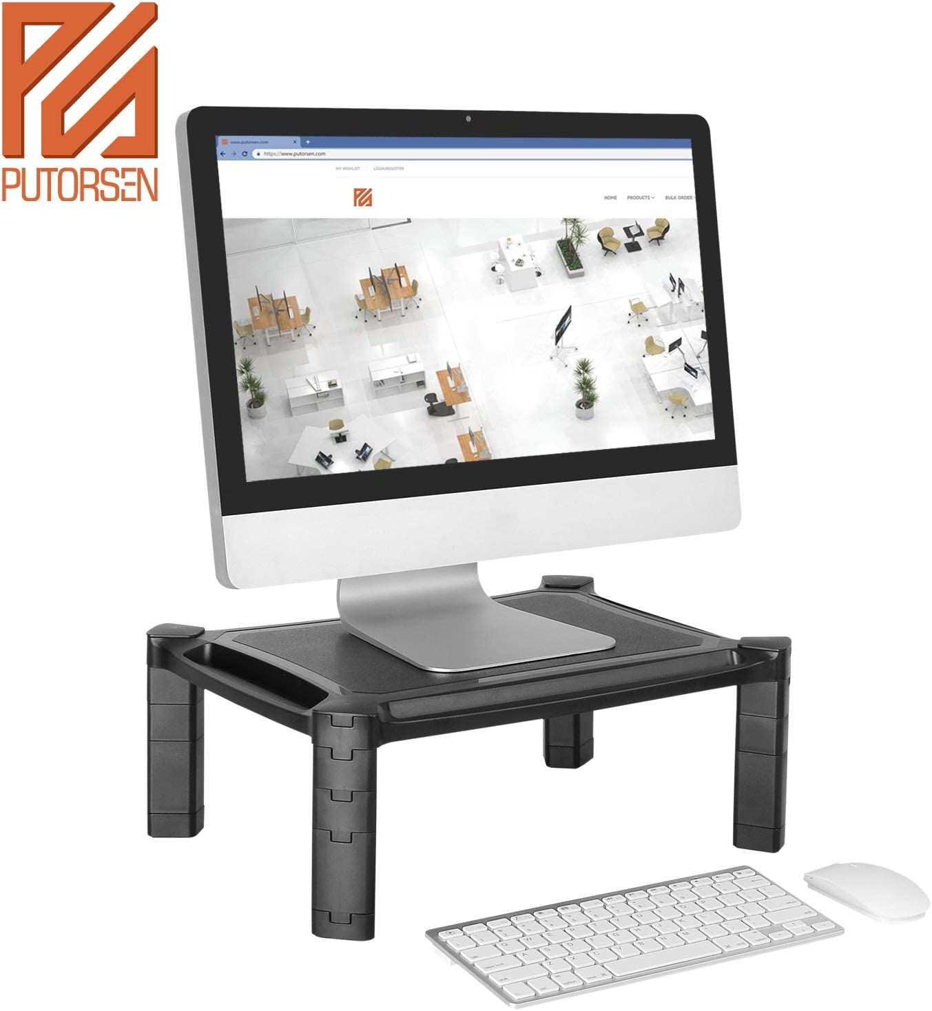 Cable Management Slot iMac PUTORSEN/® Adjustable Monitor Stand Riser with Pull Out Drawer for Computer Printer up to 10KG PC Laptop with Tablet /& Phone Holder
