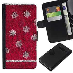 Rojo púrpura del papel pintado de la vendimia- la tarjeta de Crédito Slots PU Funda de cuero Monedero caso cubierta de piel Para Samsung Galaxy Core Prime