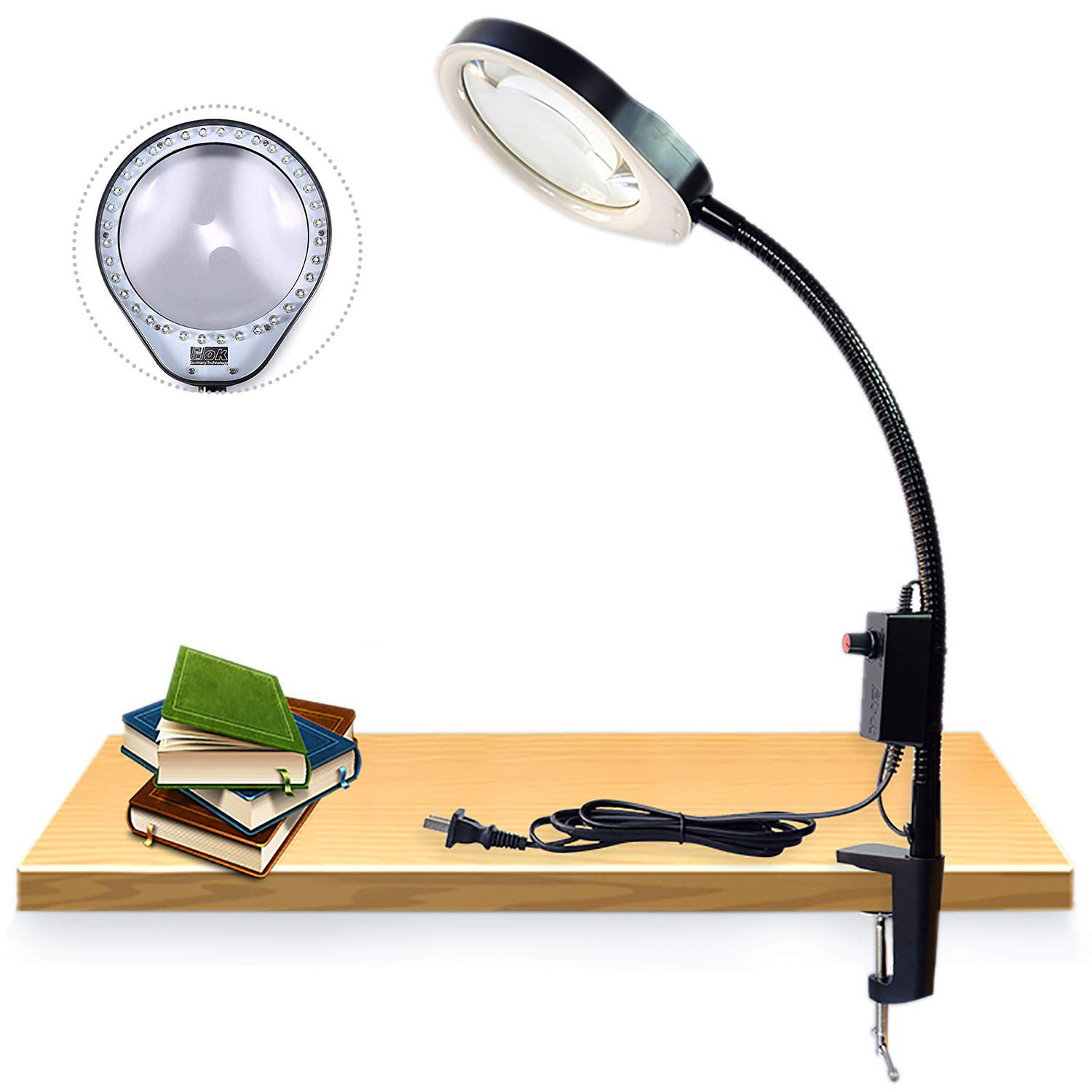 Desktop Magnifier Lamp Daylight Effect Magnifying Glass Lamps Long arm Bracket Clip Clipboard Magnifier with a Lamp Magnification Arm Length 80cm w/Desk LED Work Light Magnifying Glass (8X, Black)