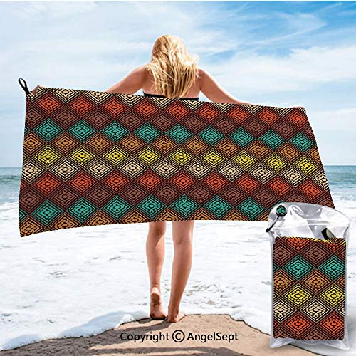 SCOCICI Fashion Beach Towels for Travel - Quick Dry,Tribal Primitive Abstract Folk Dots Forming Diamond Forms Ethnic Artsy Pattern Multicolor,31.5