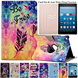 Kindle Fire HD 8 Case, Artyond Ultra Lightweight PU Leather Case Flip Stand Magnet [Auto Wake/Sleep Feature] Slim Folio [Cards Slots] Smart Case For Amazon Kindle Fire HD 8 2016 Release (Free)