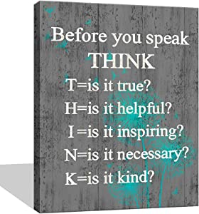 Visual Art Decor Inspirational Before You Speak Think Sign Canvas Prints Wall Art Framed and Stretched Motivational Quotes for Classroom Home Office Bedroom Living Room Decoration (02 Grey, 16x20)