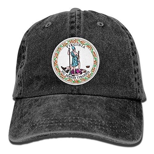 Jenpoju Virginia State Flag Washed Retro Adjustable Denim Hat Peaked Cap for Male Female (Flag Of Virginia During The Civil War)