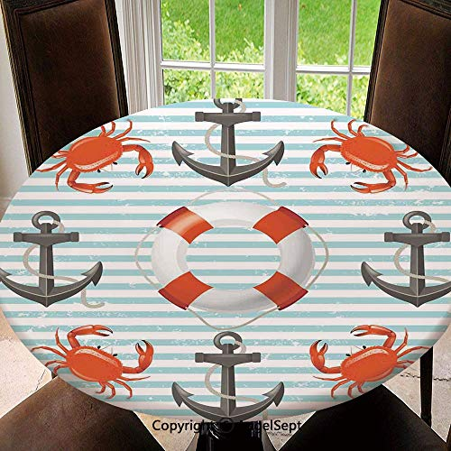 Stain Resistant Elastic Edged Table Cloth Life Rings Anchor And Ropes Ocean Crabs Coastal Theme Teal Striped Print Perfect for Home or Restaurants Table Protection , Round 55