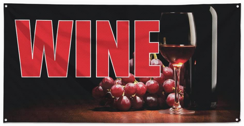 Amazon Com Wine 1 Outdoor Fence Sign Vinyl Windproof Mesh Banner With Grommets 4ftx8ft 8 Grommets Office Products