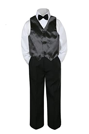4pc Boy Suit Set Silver Bow Tie Vest Baby Toddler Kid Pants S-7