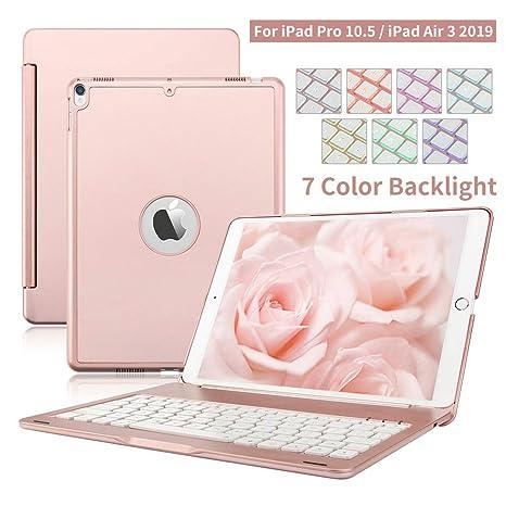 iPad Funda de Teclado, Dingrich Aluminio Funda Bluetooth inalámbrico 7 LED retroiluminado Funda Teclado+ Protector