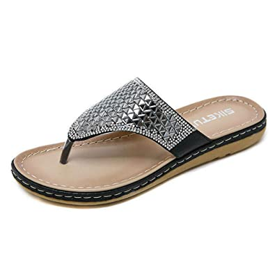 Bohemian Bling Rhinestones Crystal Jewelled Slide Flat Dressy Flip Flop  Sandals for Women Girls (US4