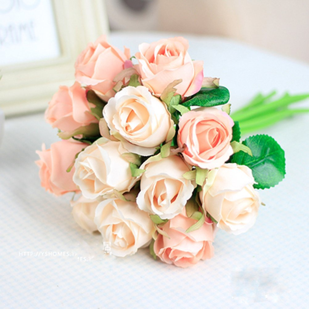 Meiliy Silk Artificial Flower Fake Floral Rose Flower Simulation Rose for Home Hotel Office Wedding Party Garden Craft Art Decor, Pink