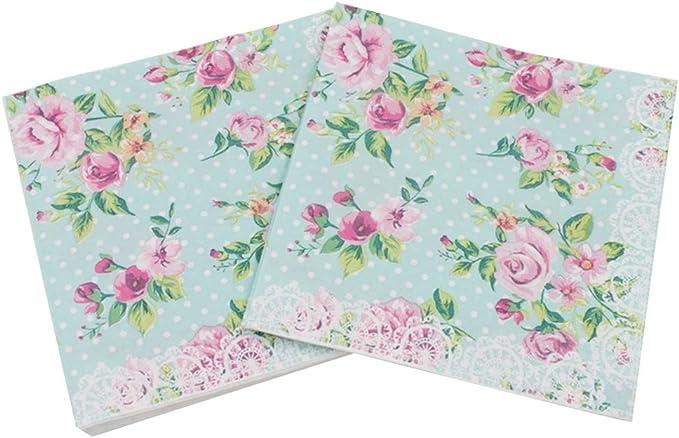celebraciones festivas suministros de vajilla para fiestas 20 servilletas de papel desechables con dise/ño de flores y ondas Shaoyanger