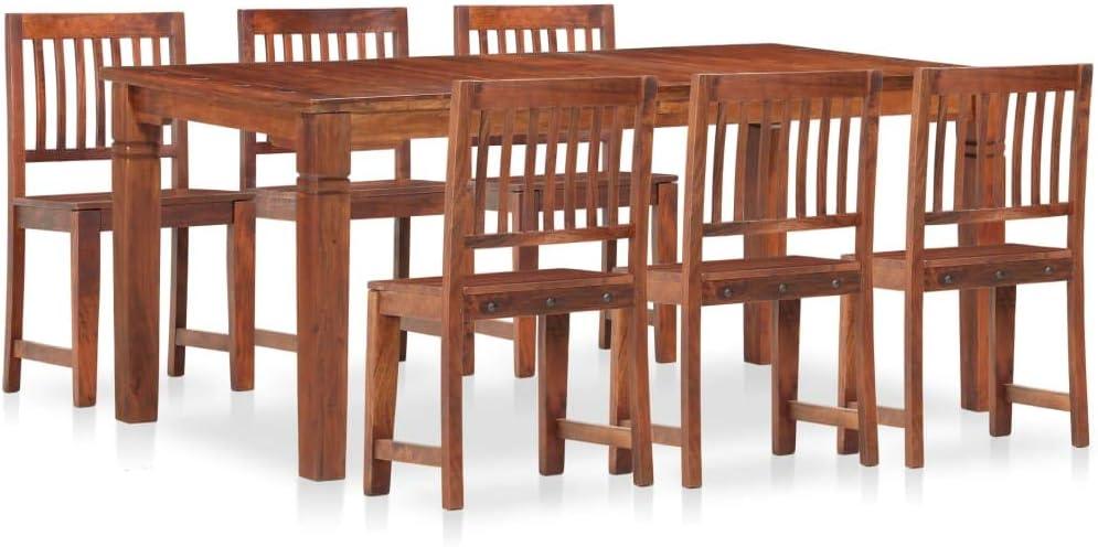 Goliraya Juego de Comedor 7 Piezas Madera Maciza de Mango y Acacia,Conjunto de Mesa sillas,Mesa Salón y Sillas Cocina: Amazon.es: Hogar