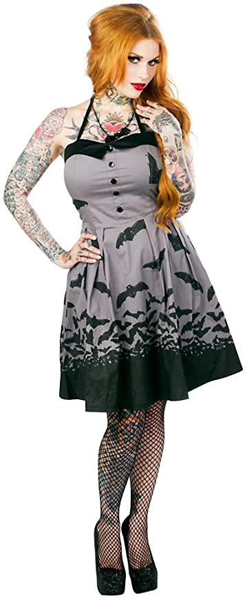 Vintage Retro Halloween Themed Clothing Sourpuss Spooksville Bats Dress $52.17 AT vintagedancer.com