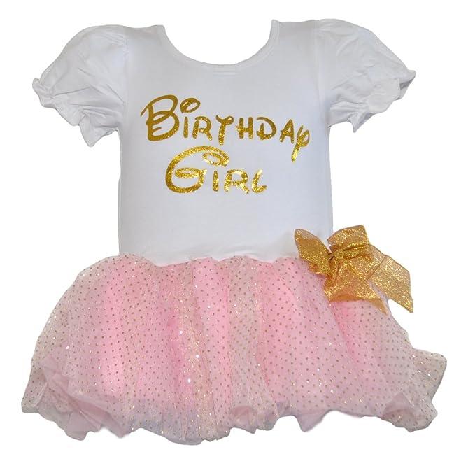 Birthday Girl Dress with Glitter Gold Lettering And Gold Dot Trim Skirt