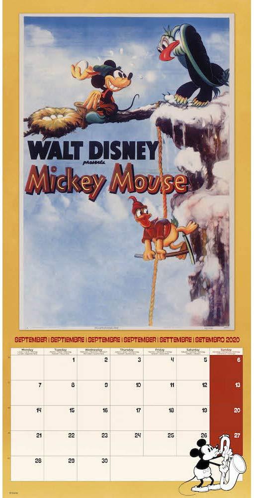 Walt Disney Classics Mickey Mouse Poster Calendar 12 x 12 inches Official 2020 Calendar