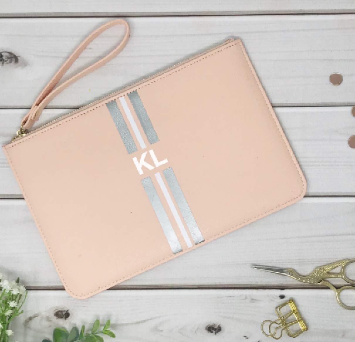 Geschenk Trauzeugin Brautjungfer beste Freundin personalisierte Tasche Clutch rosa mit Streifen und Initialen