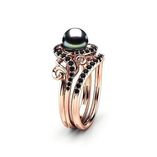 Amazon Com Black Pearl Engagement Ring Set Rose Gold Ring Leaf Engagement Ring Black Diamonds Rings Handmade