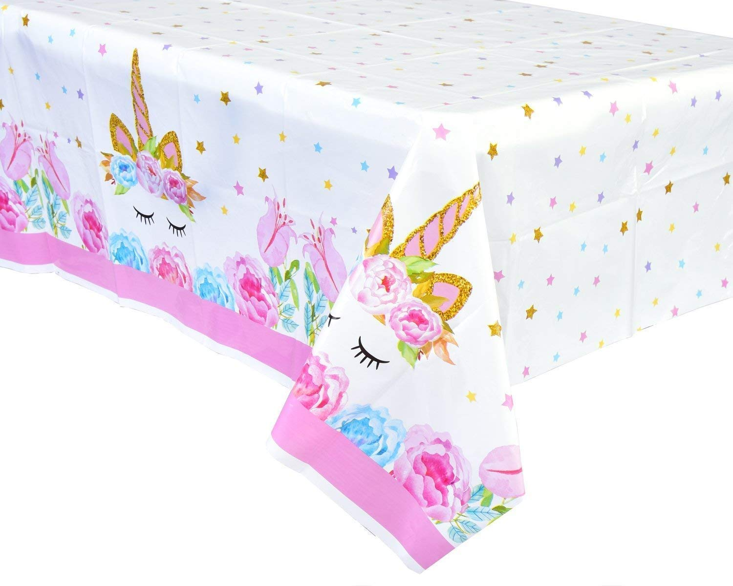Larger Size Unicorn Plastic Table Cover,Disposable Unicorn Tablecloth, Magical Unicorn Party Supplies – 52 x 87 Inches 2pk 9053inch