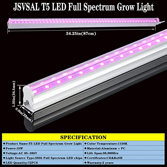 Plug and Play Easy Installation Plant Grow Shelf Greenhouse 3 x 10W, 300W Equivalent JSVSAL 3-Pack Integrated Growing Lamp Fixture T5 LED Full Spectrum Grow Light Strips,2FT 30W for Indoor