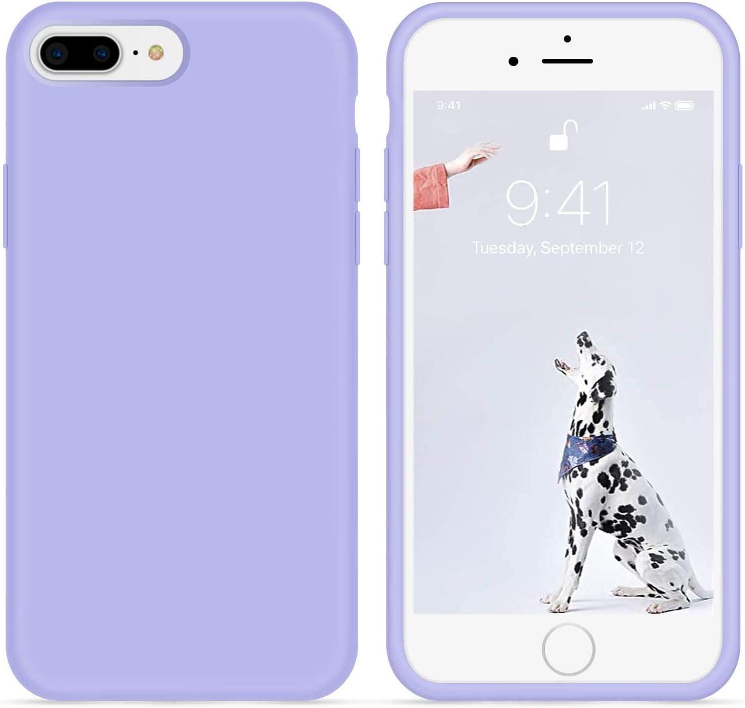 NYGSM Case for iPhone 7 Plus/iPhone 8 Plus case Liquid Silicone Gel Rubber Phone Case,Phone 7 Plus/iPhone 8 Plus 5.5 Inch Full Body Slim Soft Microfiber Lining Protective Case (Lilac, Light Purple)