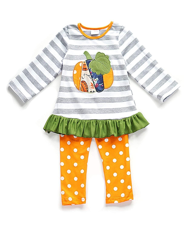 Boutique Girls Halloween Ruffles Top Pants Outfit Set - Pumpkin Ghost ANHALLO17_PantSet010