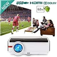 Caiwei 200in Wireless WiFi 4200 Lumen Video Projectors Support Full HD 1080P Android 6.0 LCD LED Projector Outdoor, HDMI2 USB2 Earphone VGA for Game Console iPad PC DVD TV Stick Smart Projector