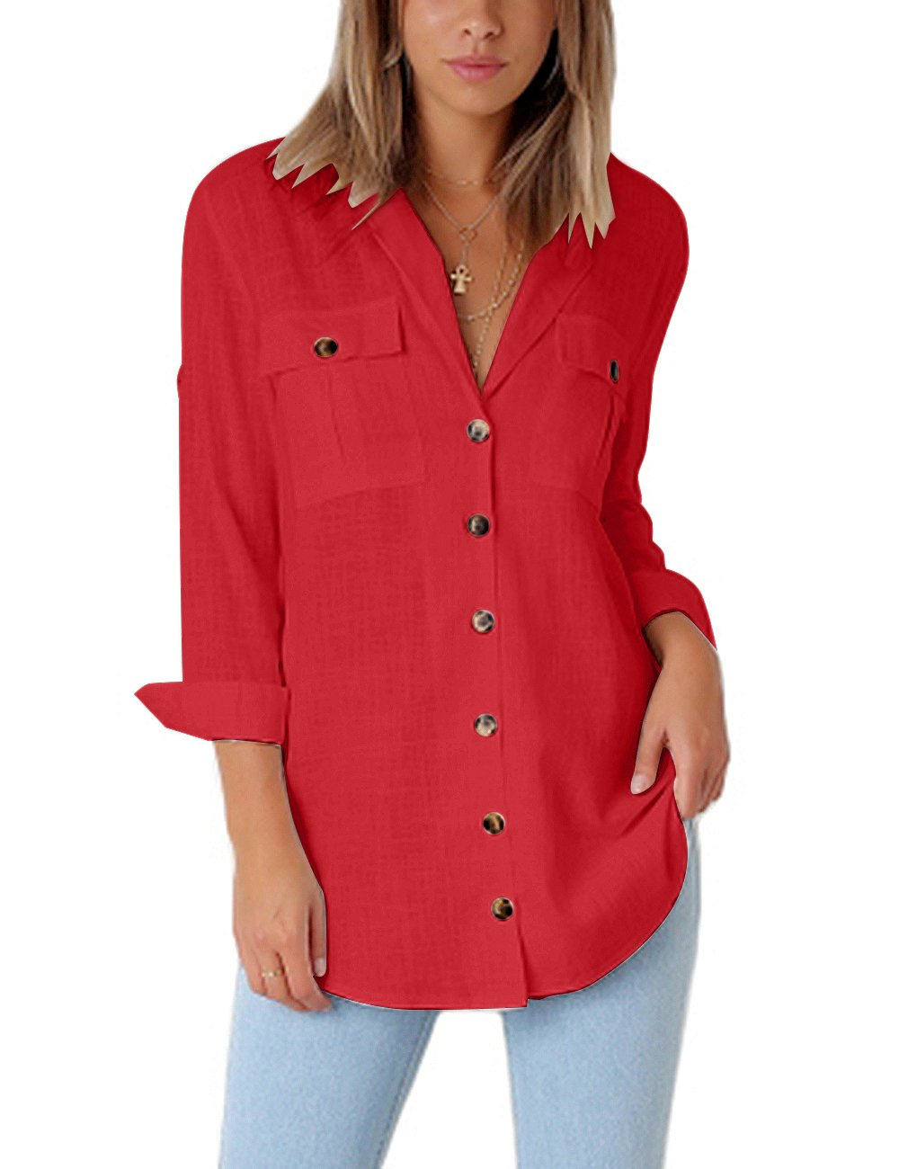GRAPENT Women's Casual Loose Roll-up Sleeve Blouse Pocket Button Down Shirts Tops Red XL(US 16-18)