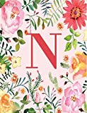 N: Monogram Initial N Notebook for Women, Girls and School, Pink Floral 8.5 x 11