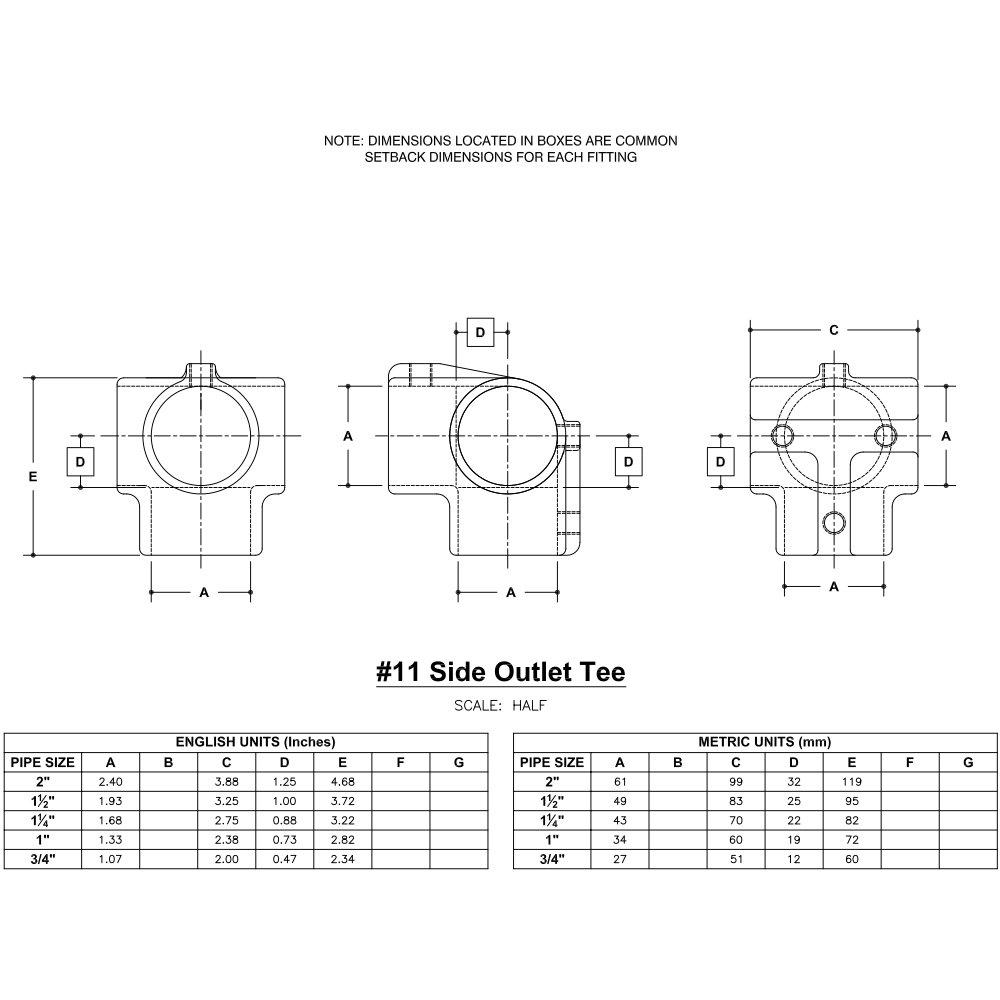 Hollaender 11-5 Side Outlet Tee Aluminum Magnesium 3/4'' IPS (1.09'' ID)