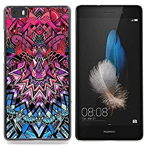 "Qstar Arte & diseño plástico duro Fundas Cover Cubre Hard Case Cover para Huawei Ascend P8 Lite (Not for Normal P8) (Modelo del art déco de la púrpura real Azul Rosa"")"