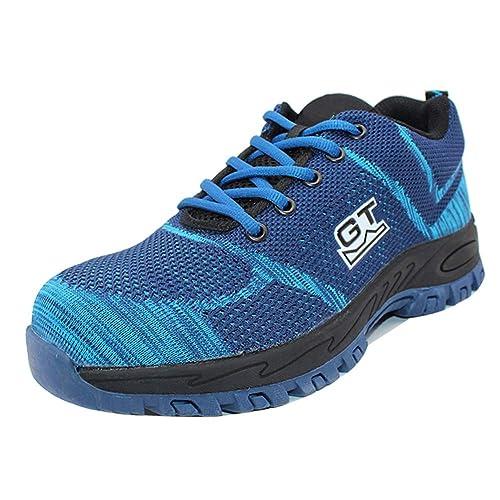 Gtagain Seguridad Protección Zapatos Hombre - Industria Construcción Botas Antideslizante Puntera Acero Zapatillas Deportivo Excursionistas Cordones Calzado ...
