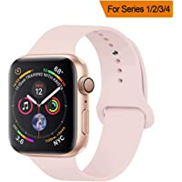 YANCH Compatible with for Apple Watch Band 38mm 42mm 40mm 44mm, Soft Silicone Sport Band Replacement Wrist Strap Compatible with for iWatch Series 4/3/2/1, Nike+,Sport,Edition,S/M M/L Size