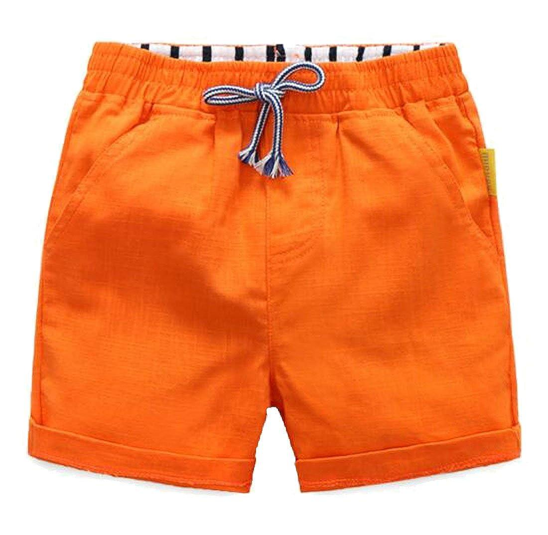 Pivaconis Girls Boys Cozy Cotton Thin Elastic Waist Cuffed Summer Shorts