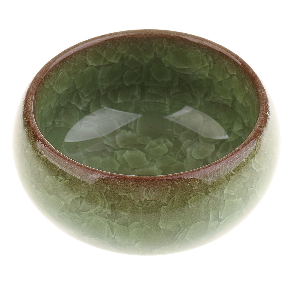 Dovewill Exquisite Green Chinese Calligraphy Brush Cleaning Bowl Ceramic Porcelain Brush Dipped in Water