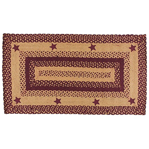 (IHF Home Decor Star Wine | Braided Rectangle Area Rug Handcrafted Reversible for Livingroom, Bedroom, Kitchen, Porch | 100% Natural Jute Material Doormat | Accent Floor Carpet - 27