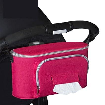 Kinbelle Bolsos Carro Bebé Universal Gran Capacidad Bolsas Organizador Carro Silla Paseo Rojo
